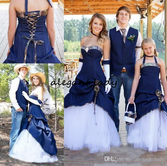 Wedding Dresses Navy Blue Denim A Line Pleats Sweetheart Lace Up Back ruffles cowgirl Bridal Gown