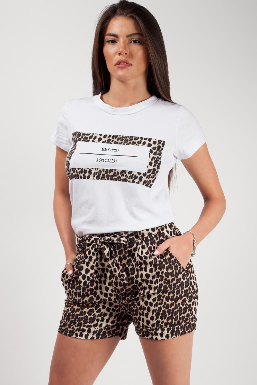 Leopard Print Slogan T-Shirt And Shorts Co-Ord set