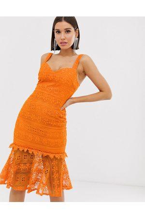 orange love tringle dress