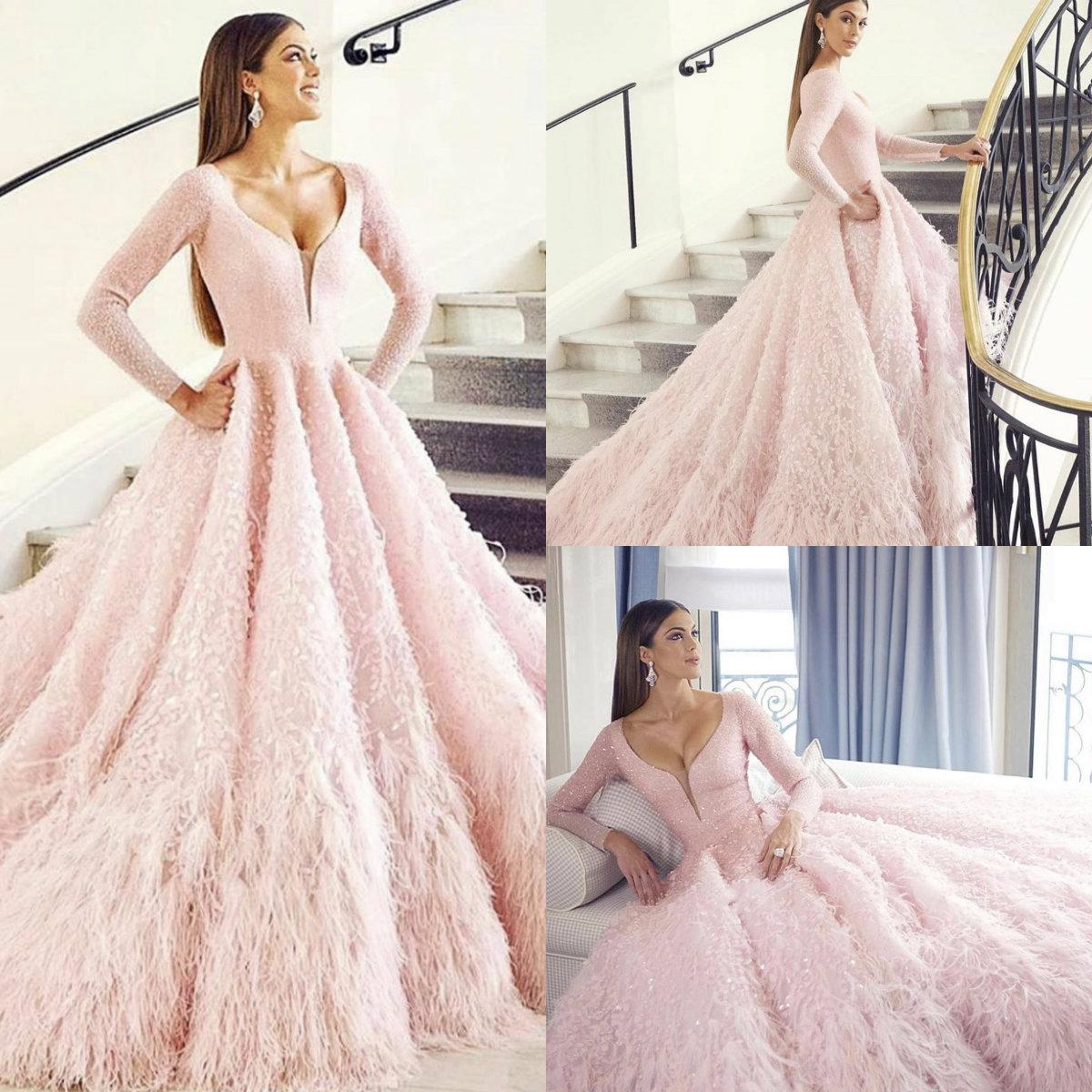 Luxury Feather Pink Prom Dresses Lace Appliqued A Line