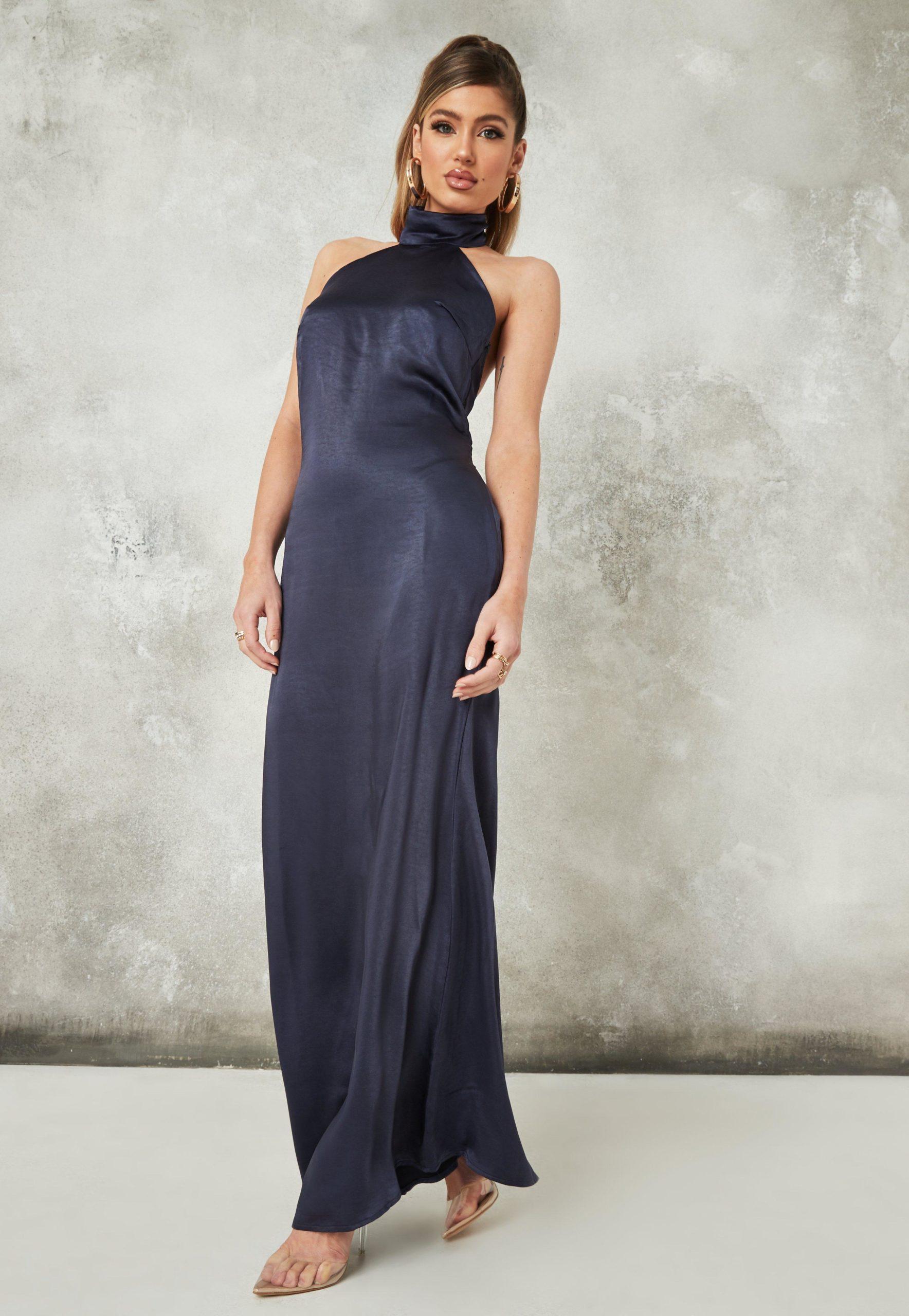 navy satin halter neck maxi dress