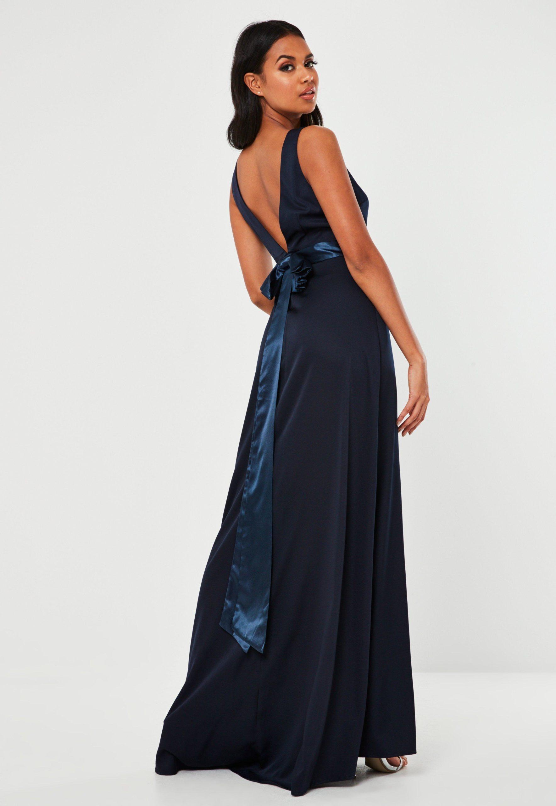 navy sleeveless low back bow maxi dress