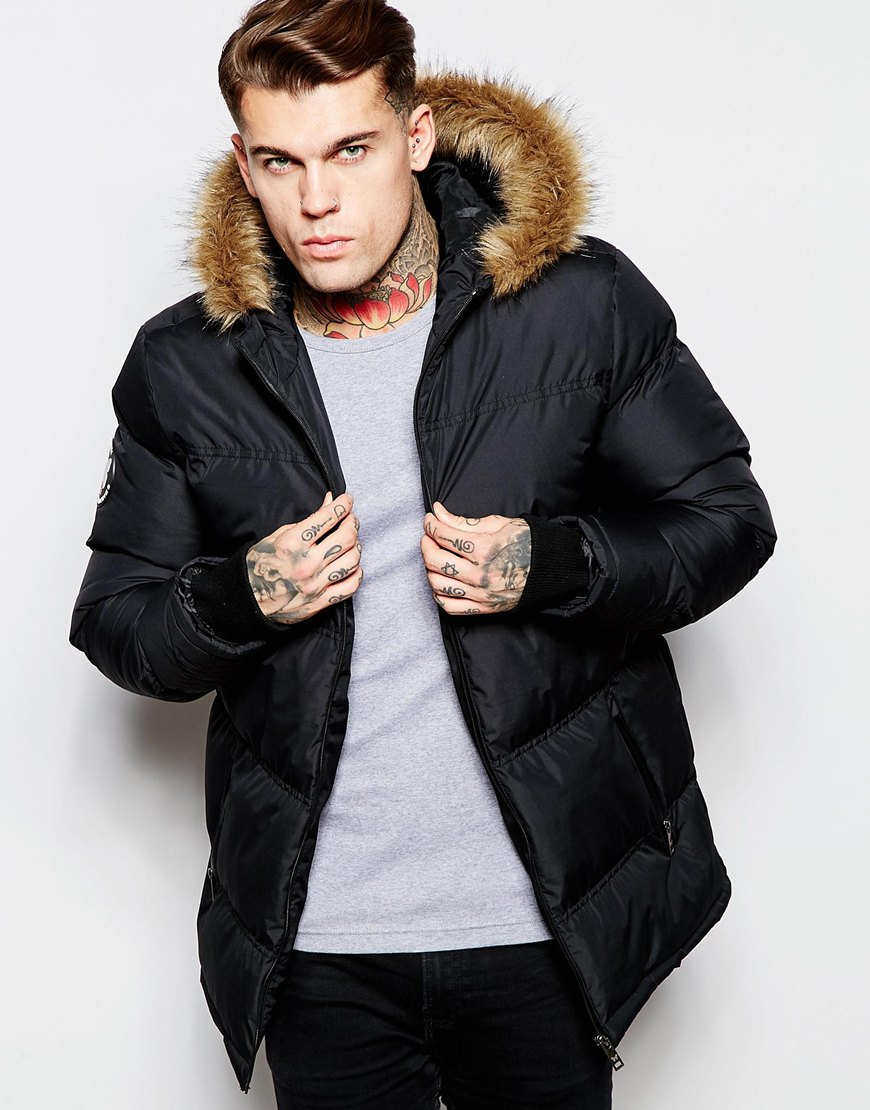Men's Black Parka with Fur Hoodie