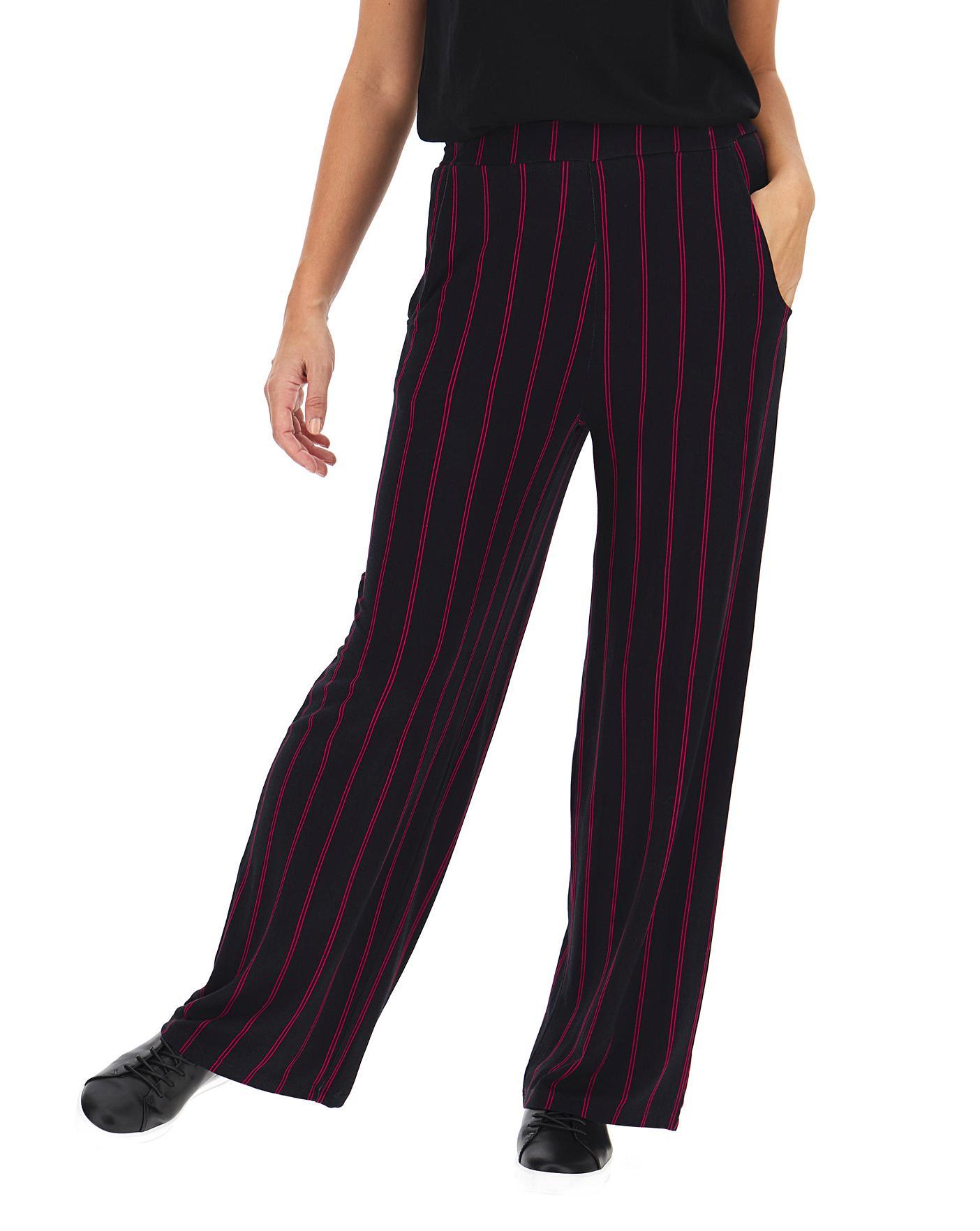 Stripe Jersey Wide Leg Trousers Reg