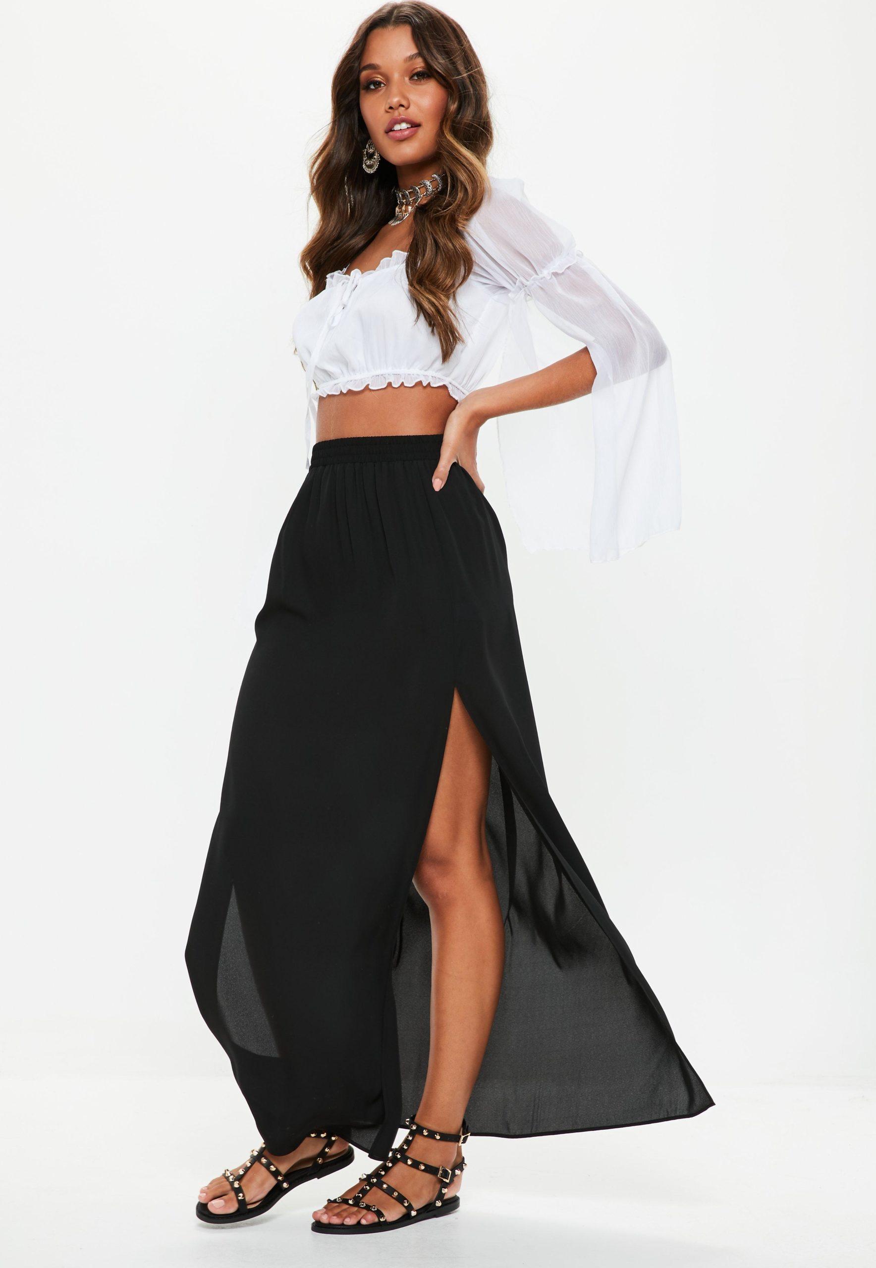 petite black maxi skirt