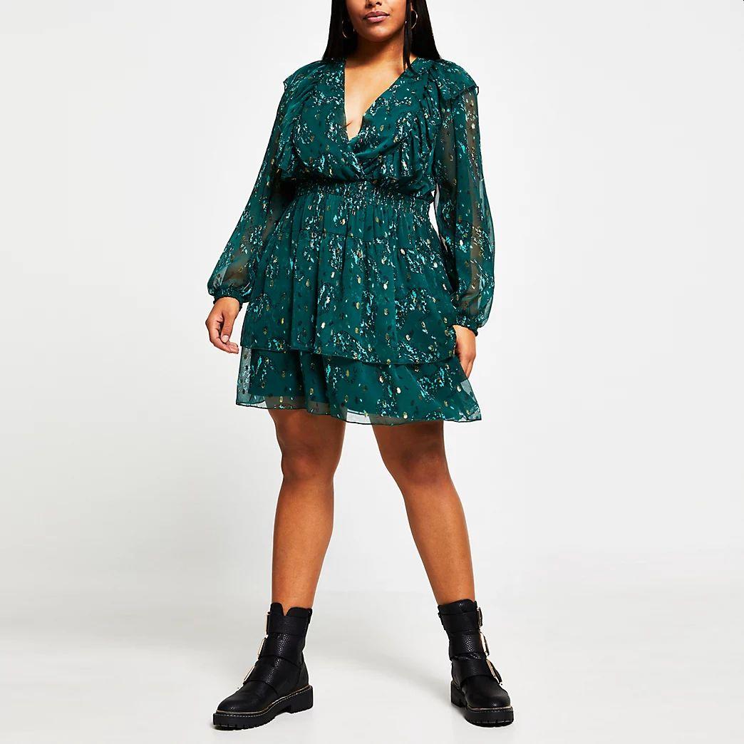 plus-size-green-ruffle-dress