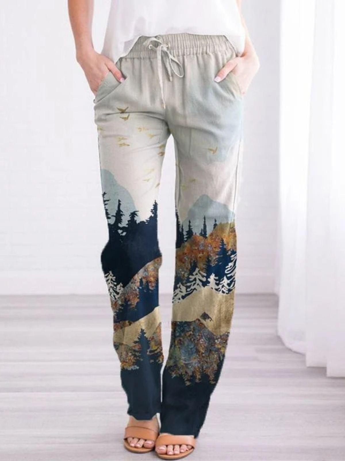 printed zip-up pants