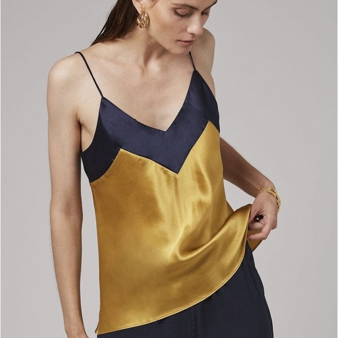 Pure Silk Cami top in Gold with Contrast V Neck