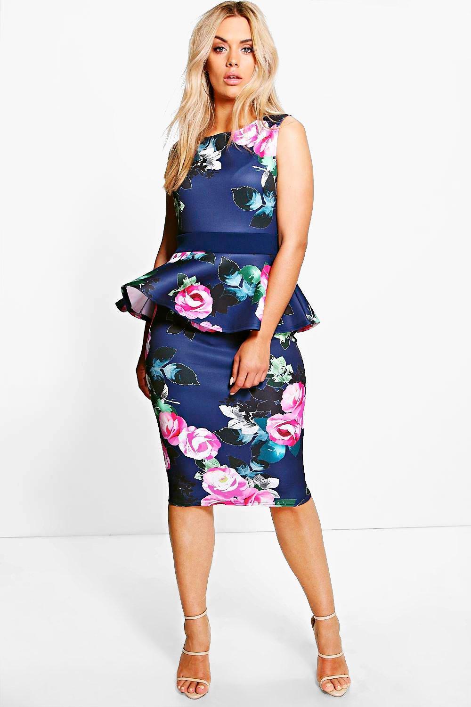 Peplum dresses include floral prints,