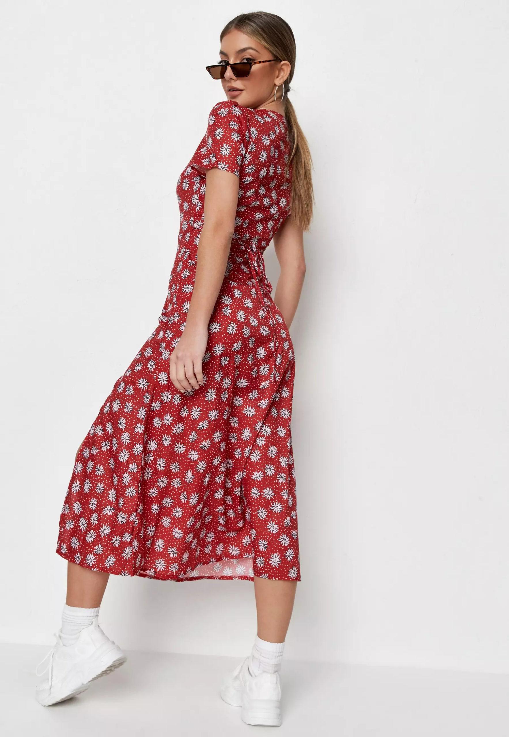red floral half button midi tea dress