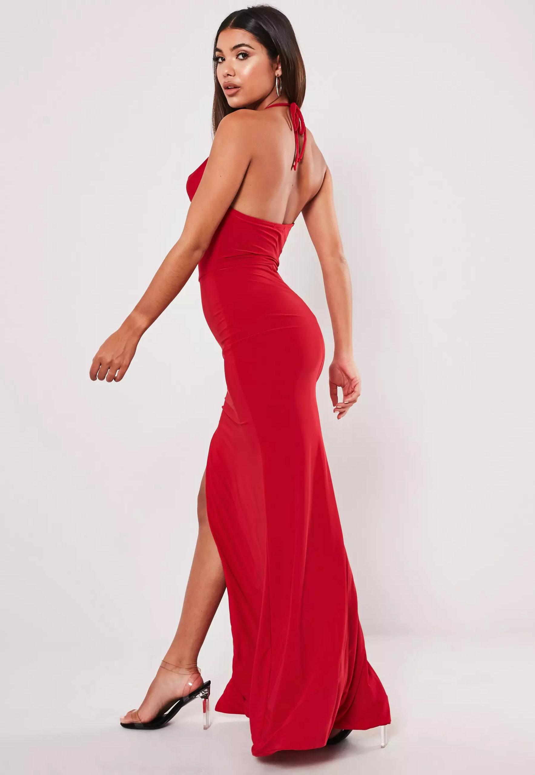 red slinky cowl neck split detail maxi dress