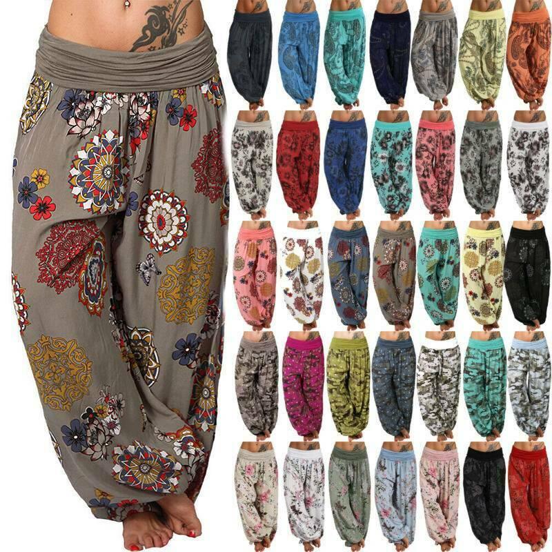 UK Womens Cotton Elastic High Waist Harem Pants Baggy Casual Trousers Plus Size