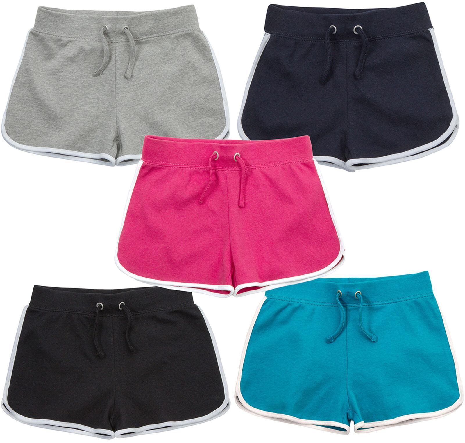 Girls Summer Shorts Cotton Plain Jersey Shorts Black Navy Grey Pink