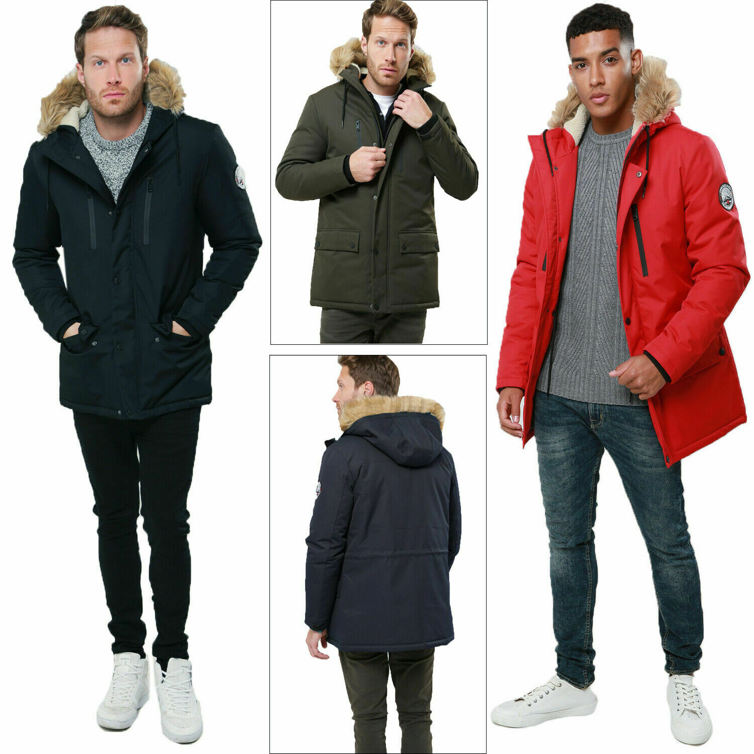 Threadbare Mens O Grady Padded Jacket Faux Fur Hooded Windproof Parka Coat