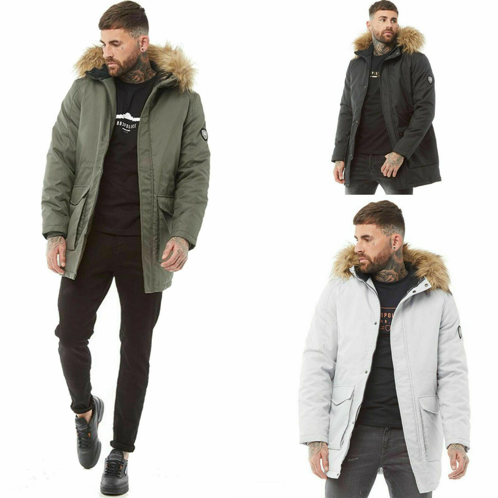Parka Jacket Fur Trim Hooded Winter Warm Long Padded Coat New