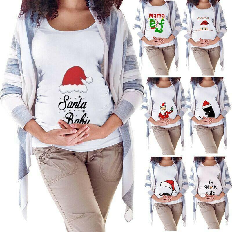 Christmas Maternity Funny Baby Xmas Print T-Shirt Pregnant Women Top Blouse C-p