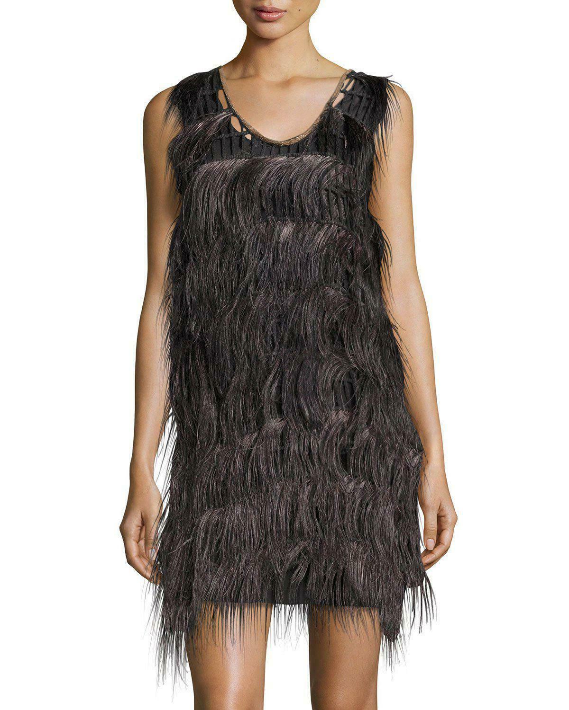 BRUNELLO CUCINELLI Women's Sleeveless Ostrich Feather Dress