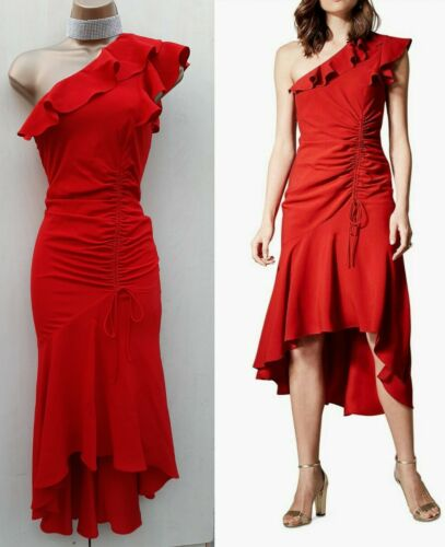 Karen Millen 8 UK Red Peplum Hem One-Shoulder Mermaid Ruched Dress Christmas