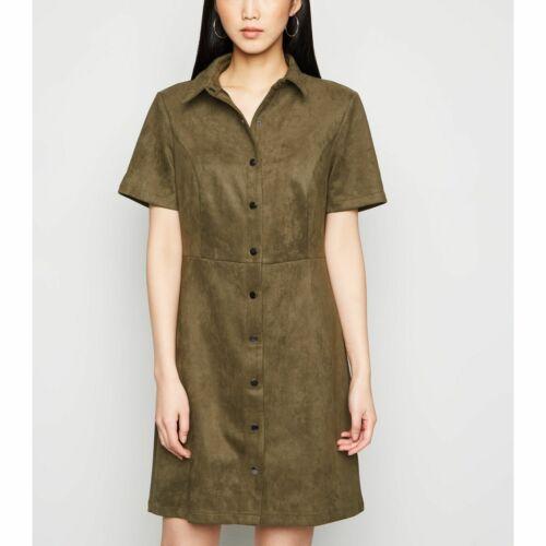 New Look Khaki Suedette Button Front Shirt Dress