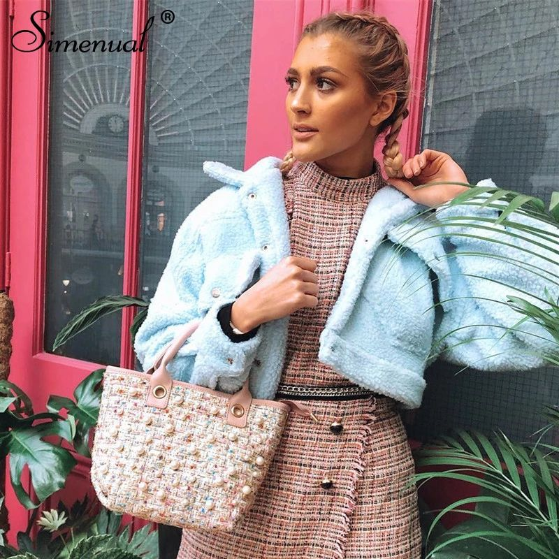 Simenual - Faux lambswool fleece jacket for women, coats with long sleeves, warm and comfortable, with pockets and buttons, casual outerwear, fashionable for fall and winter