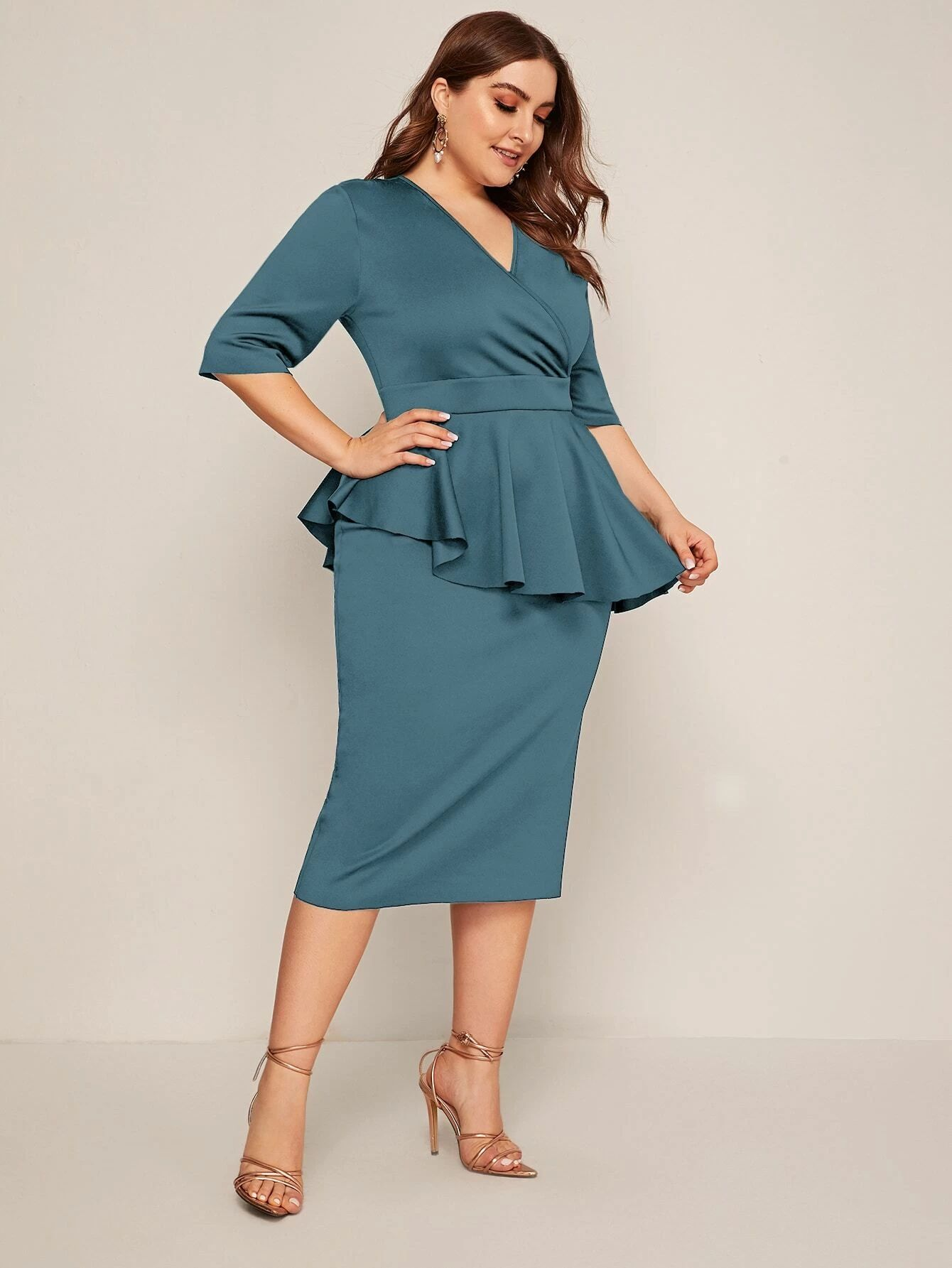 SHEIN Plus Zip Back Surplice Neck Peplum Dress