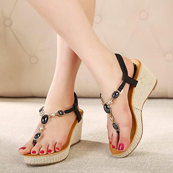 Women's Bohemian Thong Heel Wedge Sandal