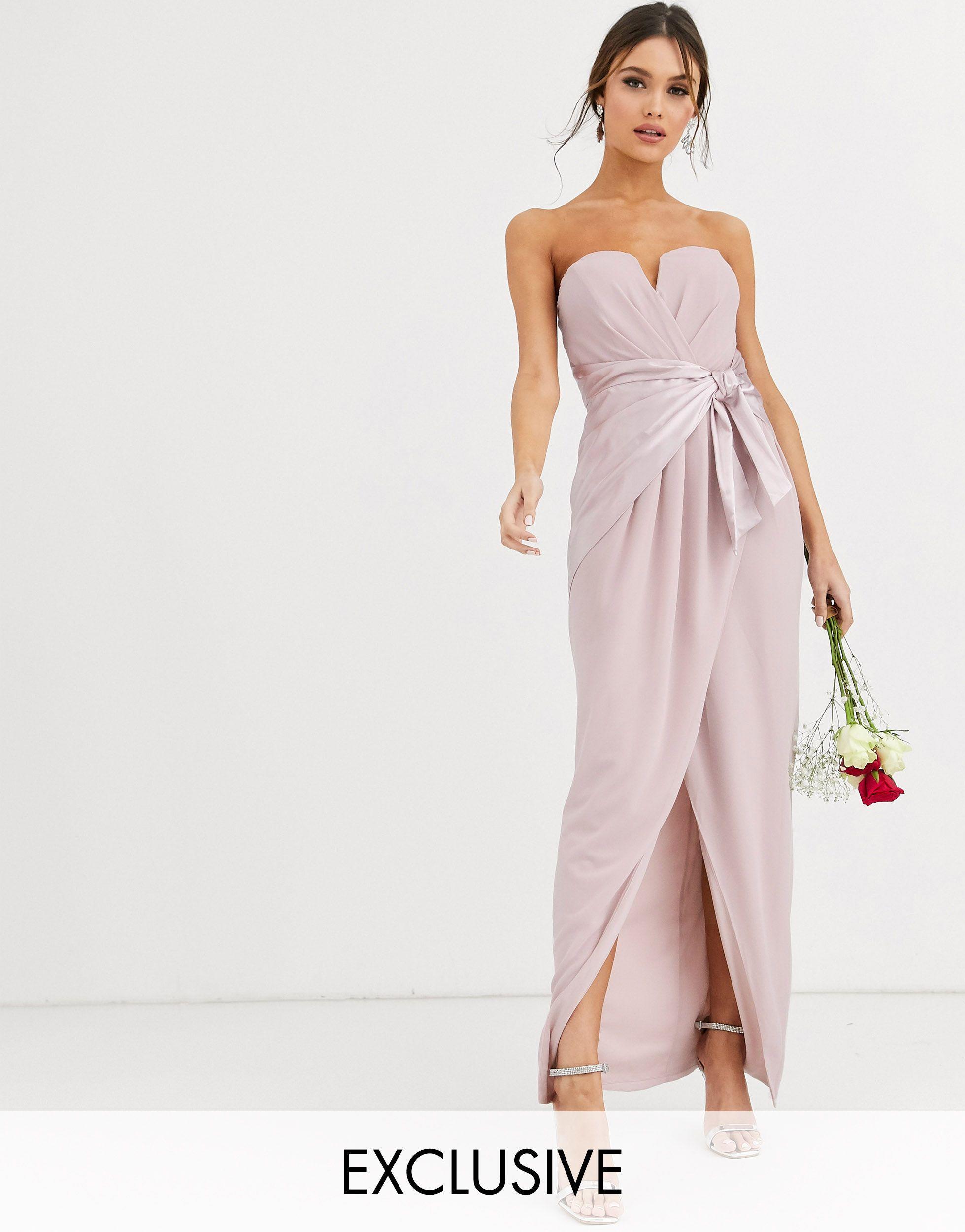 Women's Brown Bridesmaid Bandeau Maxi Wrap Dress With Satin Front Detail