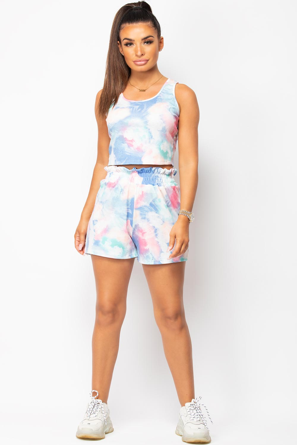 Blue Tie Dye Ribbed Crop Top And Shorts Lounge Set