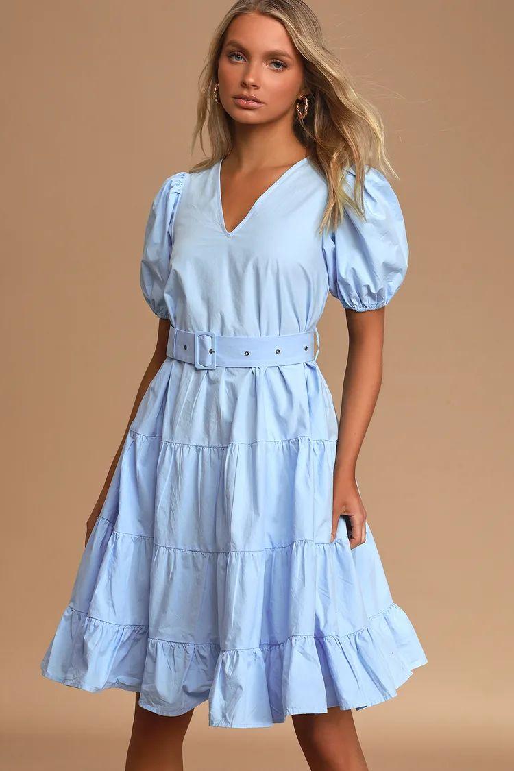 tiered midi dress light blue