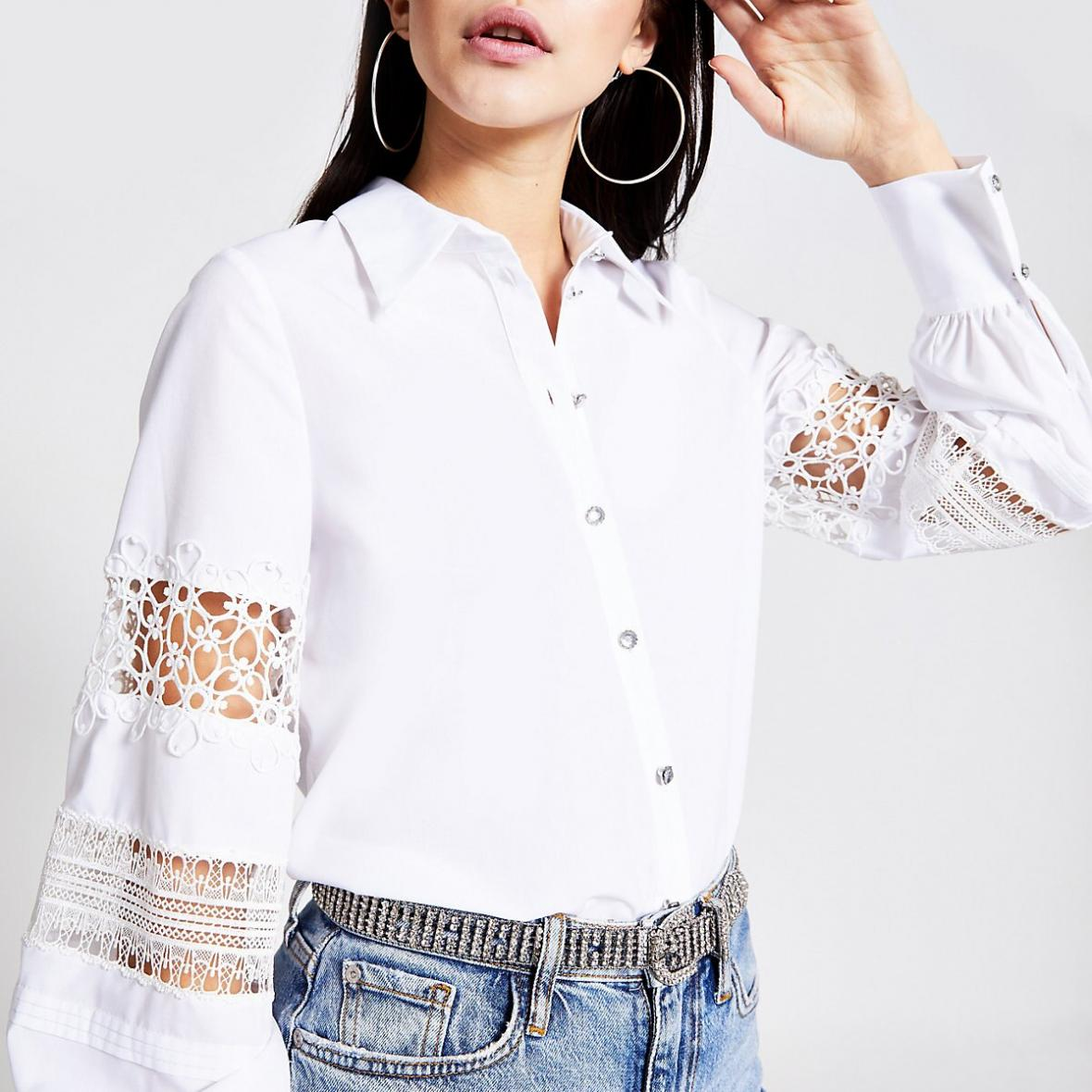 River Island Womens White lace sleeve White shirt