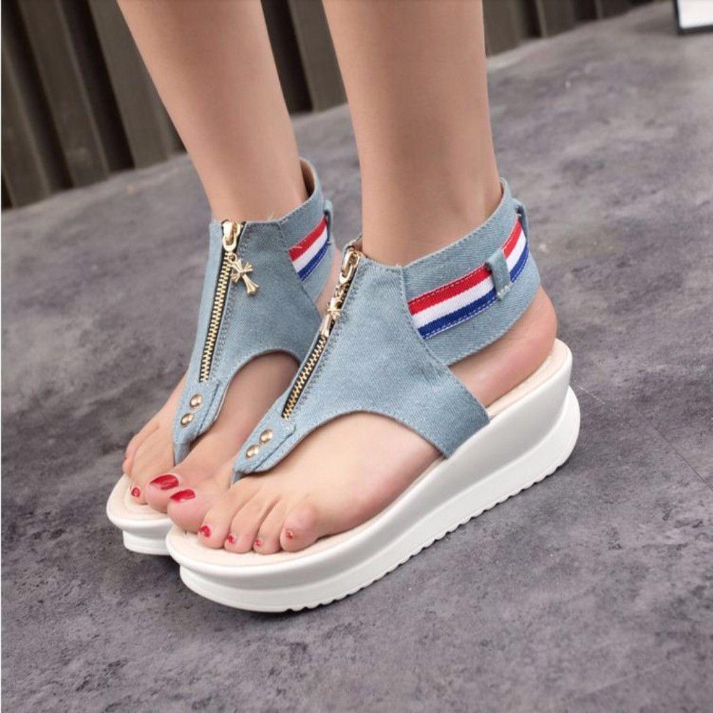 Pinterest Denim Zipper Flip Flop Women Wedge Sandals