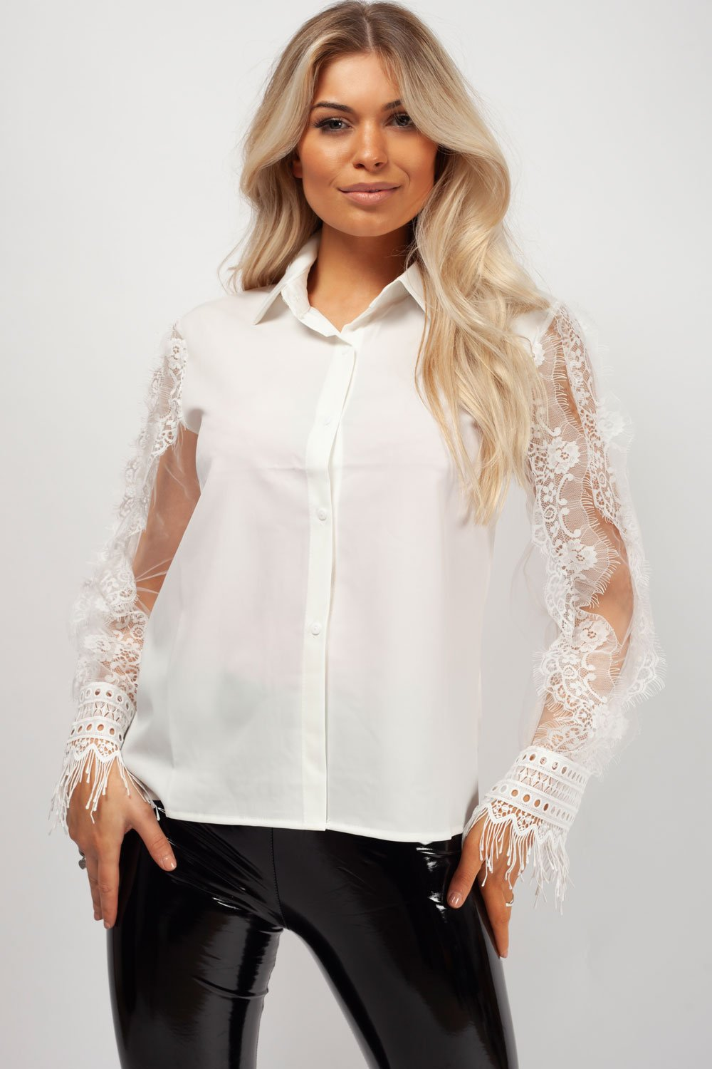 White Long Sleeve Lace Shirt