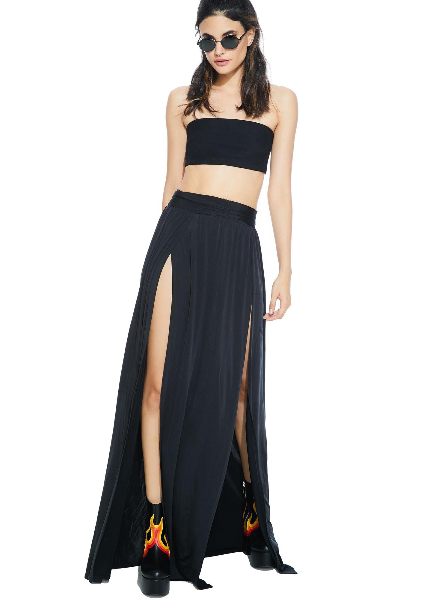 The One Colour High Waisted Maxi Skirt With Slits