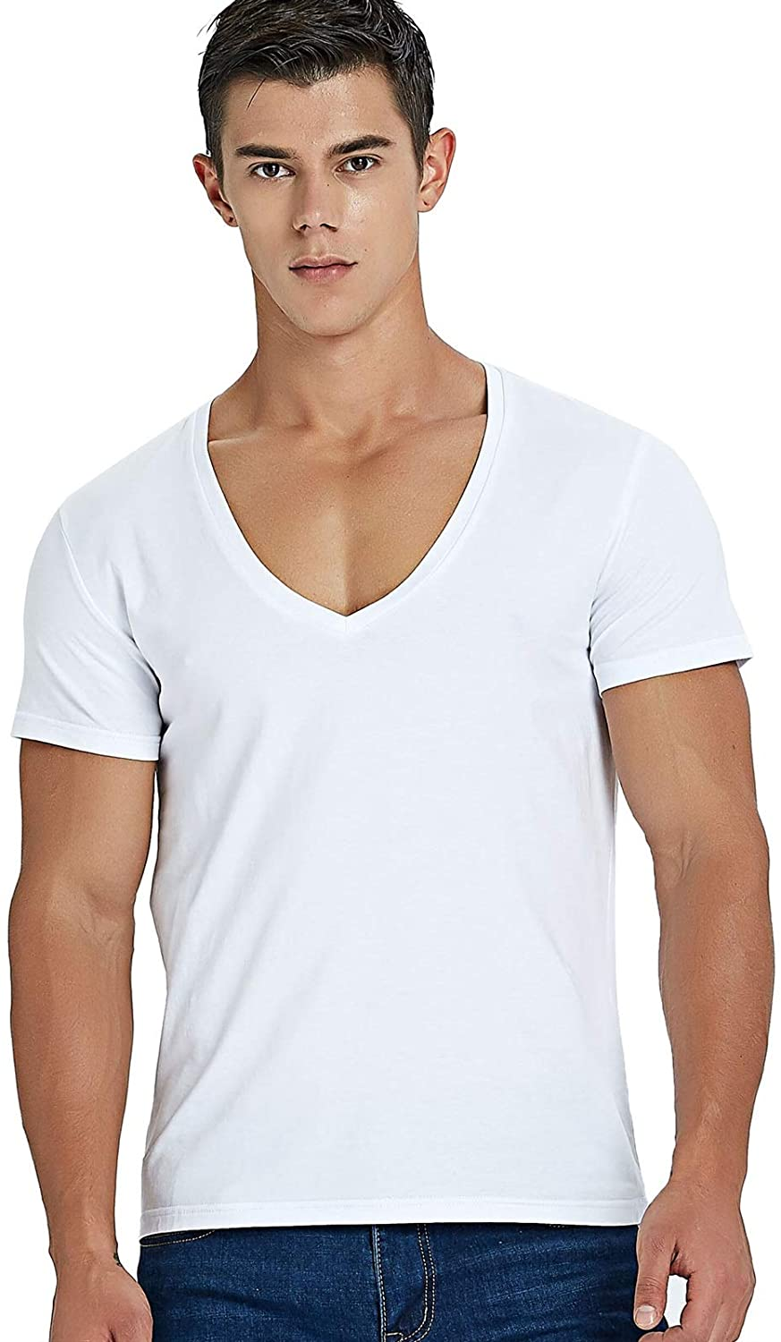 yanhuigang Fashionable and exquisite T-shirt T Shirt,Deep V Neck T Shirt For Men Low Cut Scoop Neck Top Tees Drop Tail Short Sleeve Male Cotton Casual Style (Color : White, Size : M)