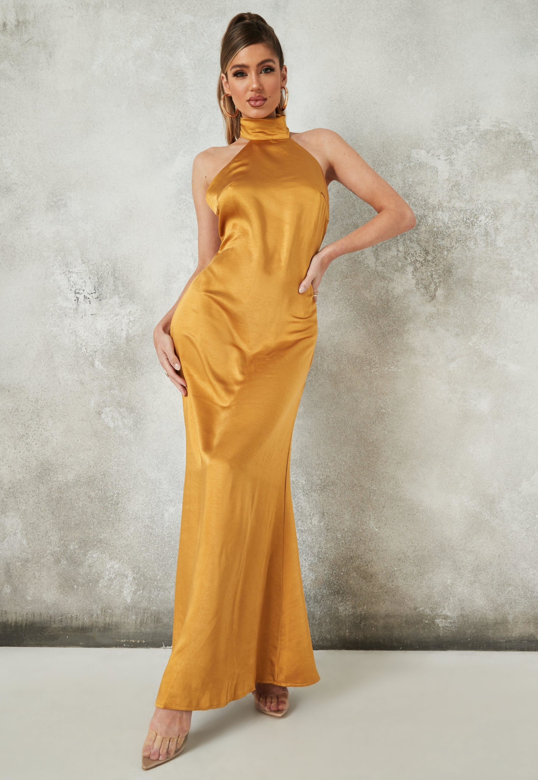 yellow satin halter neck maxi dress