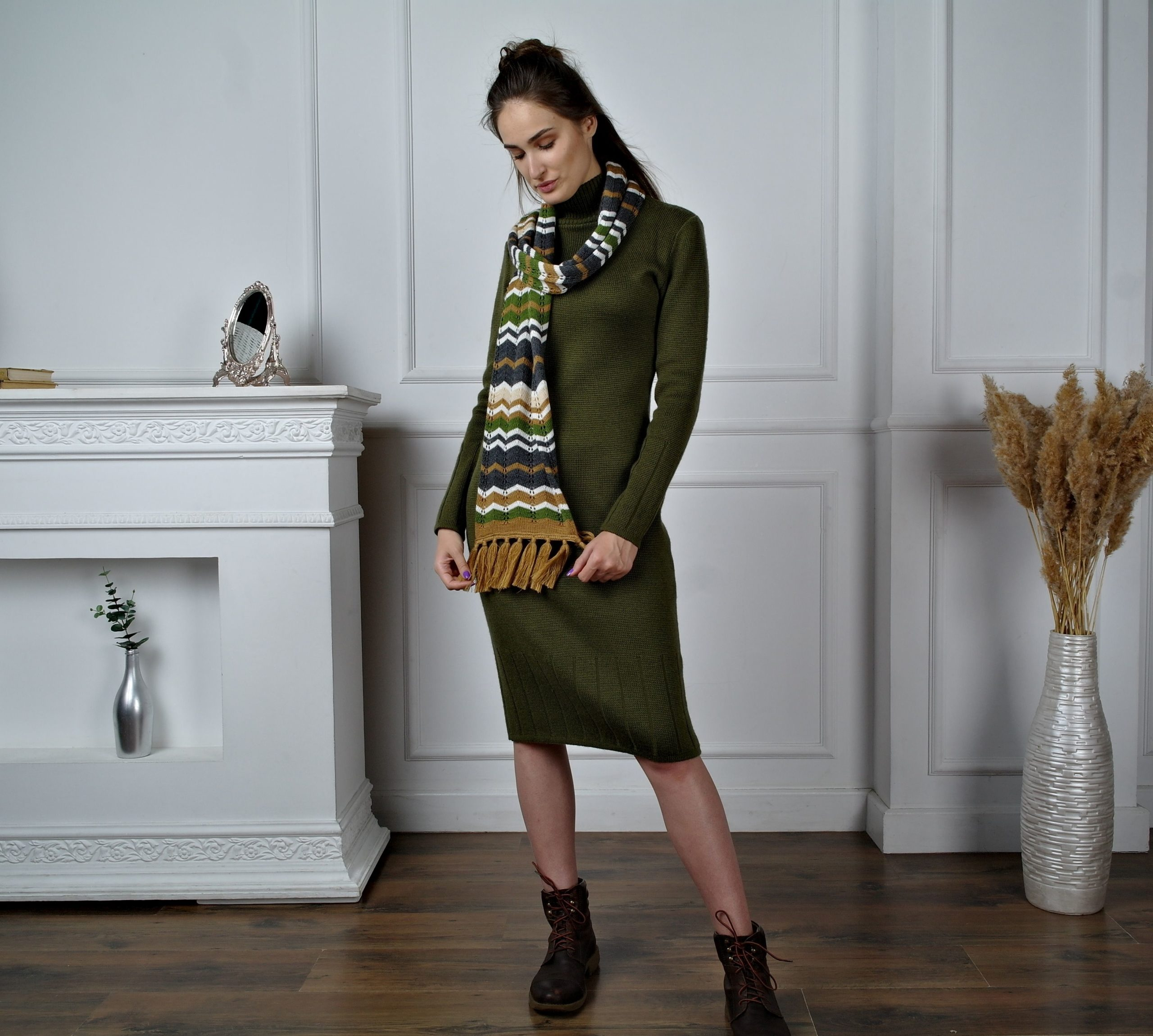 knitted midi dress with scarf