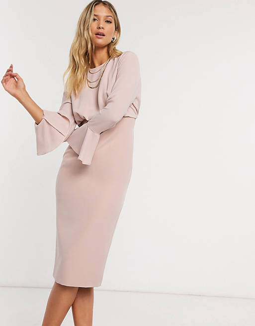 fluted sleeve midi pencil dress in soft pink