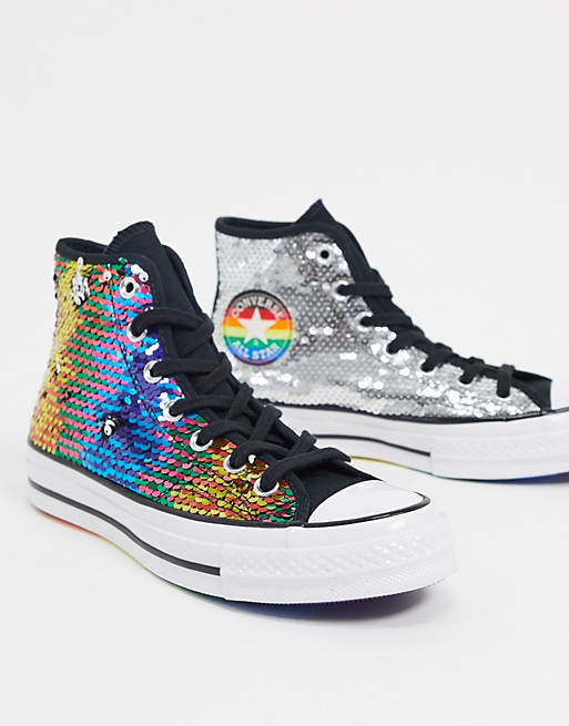 rainbow sequin sneakers in multi