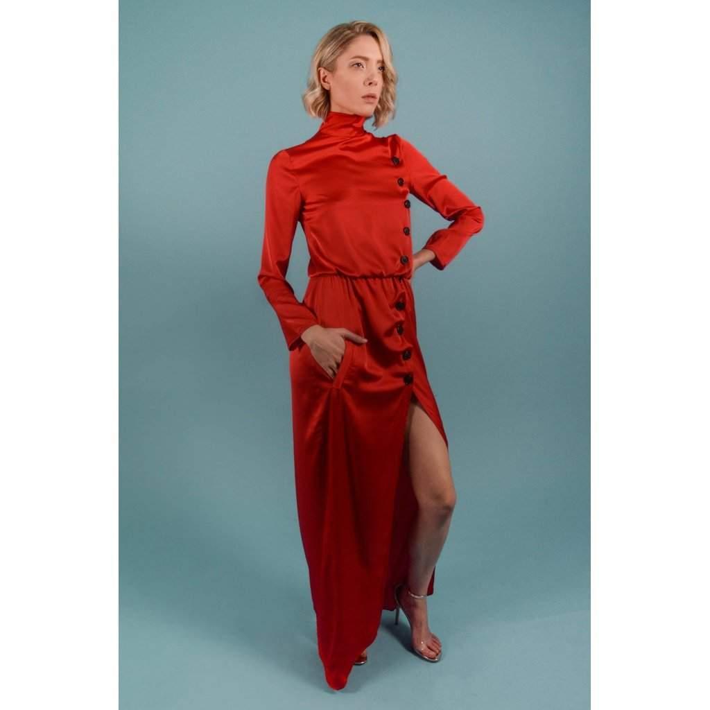Turtleneck Maxi dress satin