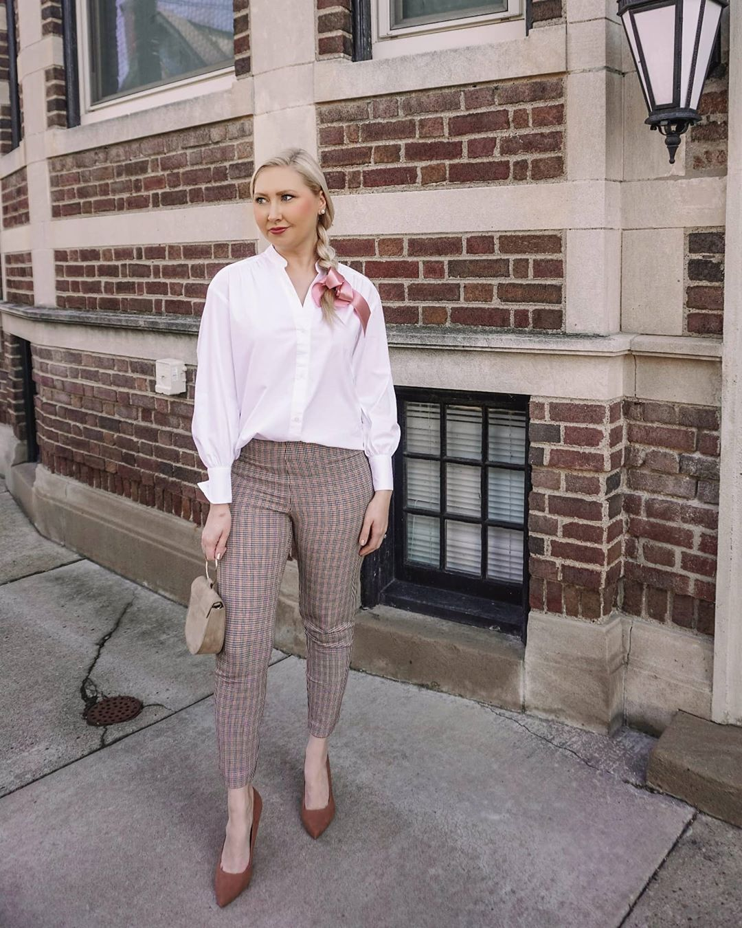 Gingham Pants with White Button-Down Shirt