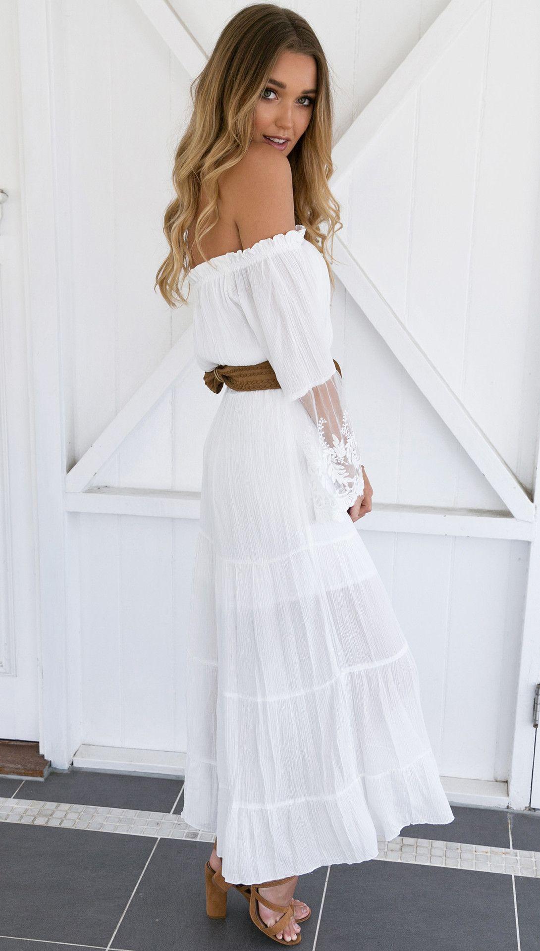 White Lace Maxi Dress with belt