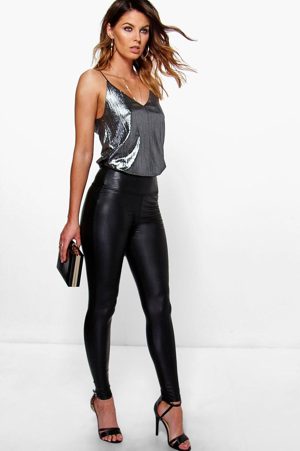 Trendy Wet Look Leggings