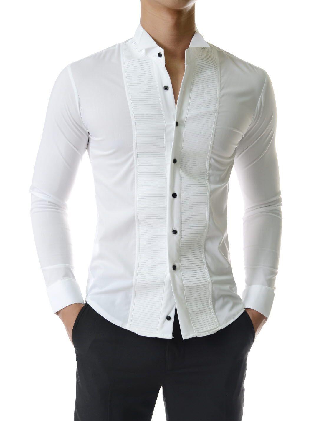 Men's v-neck tuxedo shirt