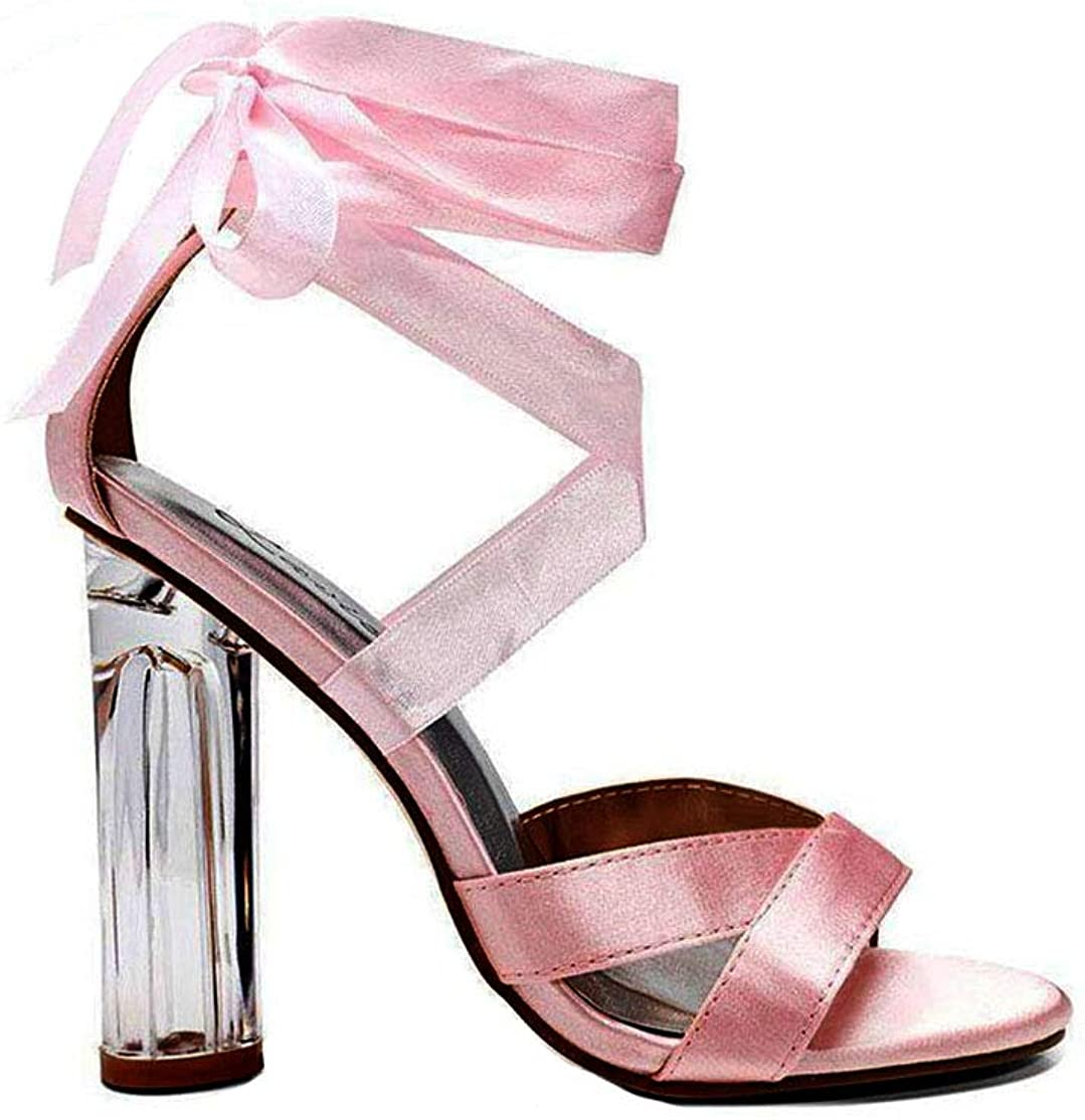 Pink Satin Lace Up Perspex Heels