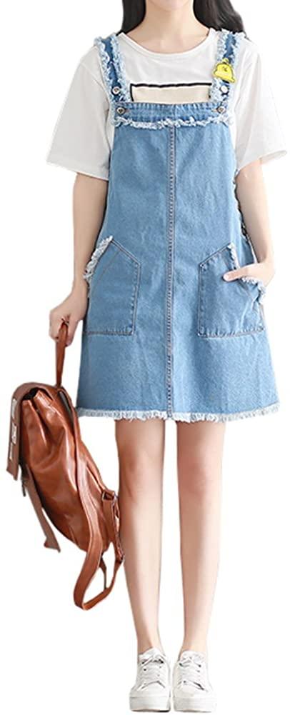 Women's Short Tassels Trim Denim Suspender Skirt Jeans Overall Dress