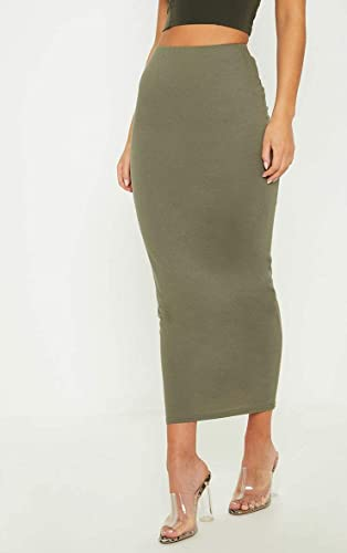 Womens Midi Pencil Skirt Ladies Plain Jersey Bodycon Tube Long Maxi Skirts