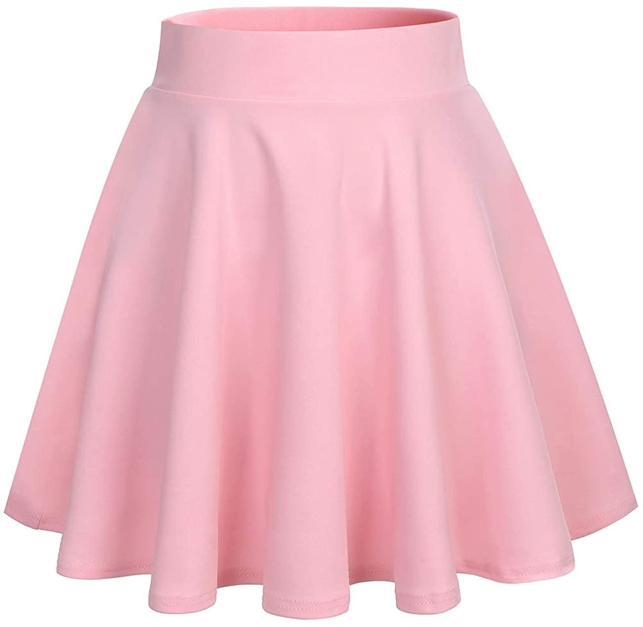 DRESSTELLS Women's Mini Skirt Basic High Waist Pleated Solid Casual Skater School Stretchy Skirt
