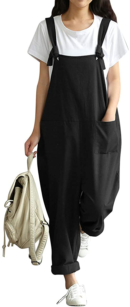 BBYES Women Loose Overall Strap Sleeveless Long Playsuit
