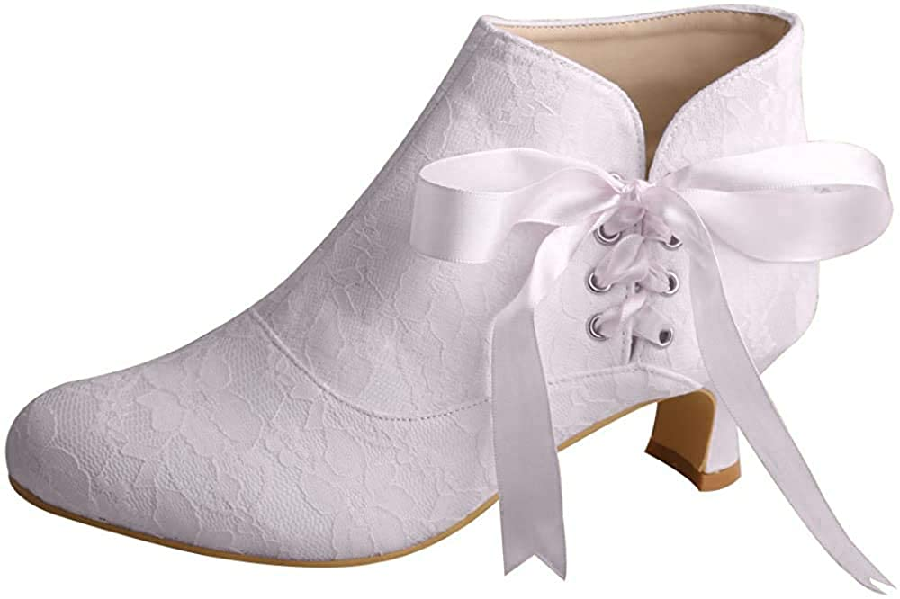 Women's Round Toe Ribbon Shoes Chunky Heel Lace Wedding Bridal Ankle Boots