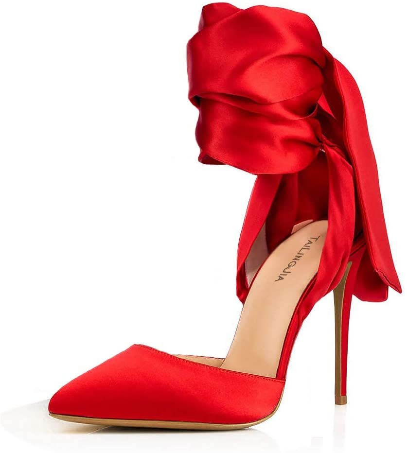 Ladies Pointed-Toe High Heel Satin Cloth Lace-Up Sandals